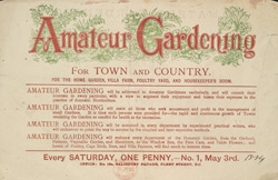 Advert for the Amateur Gardening Periodical, reverse side